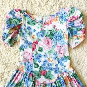 Vintage 80s 90s floral tea dress XS
